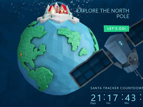 Website được NORAD lập ra để theo dõi hành trình của ông già Noel Ảnh: Telegraph
