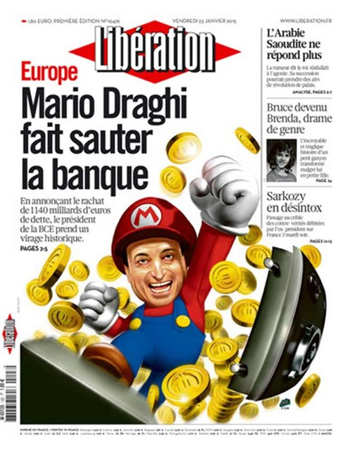 Ông Mario Draghi được ví như Super Mario trên báo Pháp Libération.