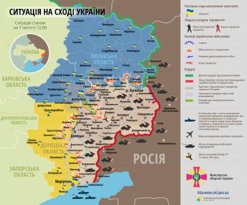 Bản đồ chiến sự miền đông Ukraina ngày 07/02/2015