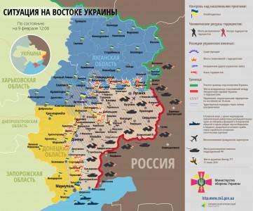 Bản đồ chiến sự tại miền đông Ukraina ngày 09/02/2015