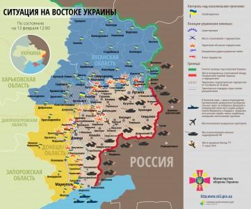 Bản đồ chiến sự miền Đông Ukraina ngày 13/02/2015