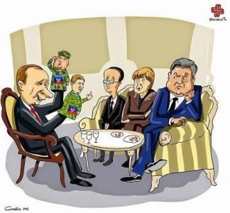 Biếm họa thỏa thuận Minsk theo thể thức Normandy.