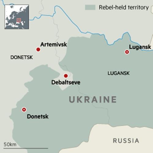 Vị trí thành phố Debaltseve. Đồ họa: FT.