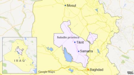 Bản đồ thành phố Tikrit và Samarra ở tỉnh Saladin, Iraq.
