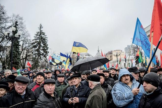 Một biểu tình của những người thợ mỏ ở trước quốc hội Kiev hồi tháng 2/2015.