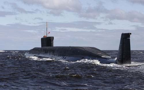 Yuri Dolgoruky, a new Russian nuclear submarine, is seen in waters off Sevmash factory in northern city of Severodvinsk