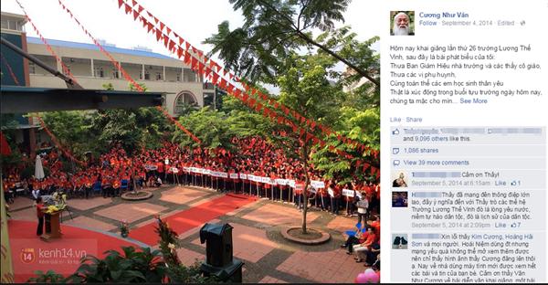 Sau khi đăng tải chưa được bao lâu, diễn văn khai giảng ngày 4/9/2014 của PGS Văn Như Cương nhanh chóng nhận được gần hơn 1 triệu lượt thích và chia sẻ - (Ảnh chụp màn hình).