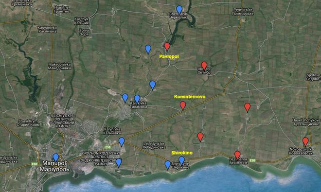 Hai ngôi làng Pavlopol, Kominternovo, rất gần Mariupol đã bị ly khai chiếm giữ.