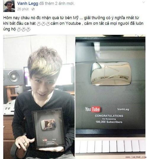 Vanh Leg sung sướng khoe giải thưởng Youtube trao tặng