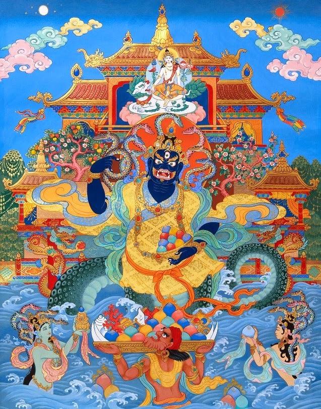 Hình miêu tả một naga trong Phật giáo Tây Tạng (Ảnh: Digital Tibetan Buddhist Altar)