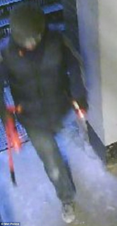 Hình ảnh một trong số ba nghi phạm thu được từ máy quay an ninh. Trên tay nghi phạm là các vật dụng phục vụ cho vụ trộm. (Nguồn: dailymail.co.uk)