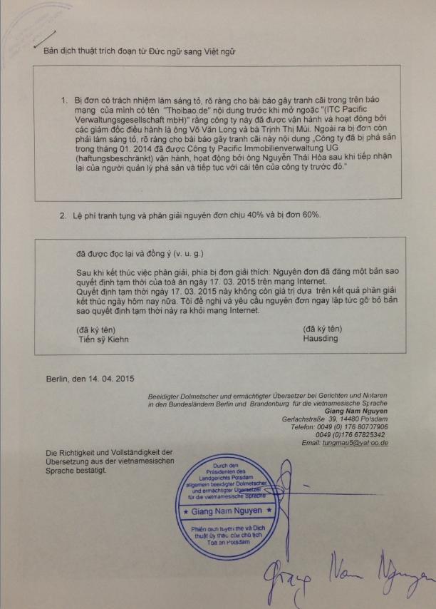 Bản dịch sang tiếng Việt phân giải của Tòa án Đức ngày 7/4/15 (Dịch công chứng tại Đức) .