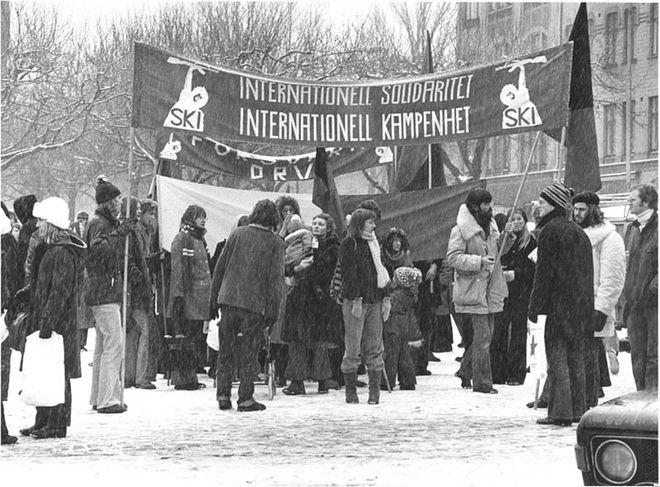 Đoàn người xuống đường trong thời tiết giá rét để biểu tình tại Lund, Thụy Điển. Ảnh: Wiki