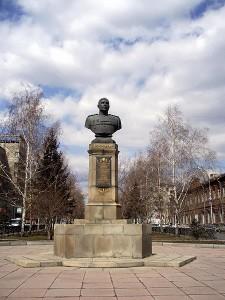 Tượng bán thân của Nguyên soái A.I. Pôcrưskin ở quê hương Novosibirsk