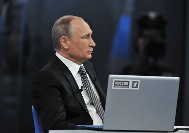 Tổng thống Nga Putin tại trường quay.