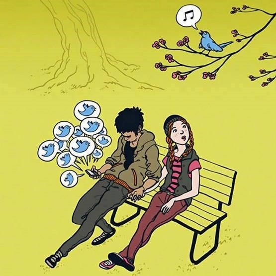 """Chim thật không hót nhiều như """"chú chim"""" Twitter trên chiếc điện thoại thông minh."""