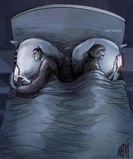 Vợ chồng thời của điện thoại thông minh và mạng xã hội.