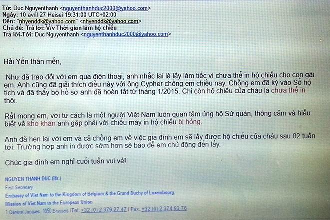 Email của ông Nguyễn Thanh Đức - Bí thư thứ nhất - Lãnh sự trả lời chị Hải Yến về việc chậm trễ cấp hộ chiếu cho con gái chị Hải Yến và anh Cuypers Thierry.