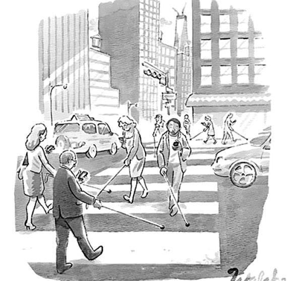 Người đi đường như những người bị khiếm thị bởi mắt họ dán chặt vào chiếc điện thoại.