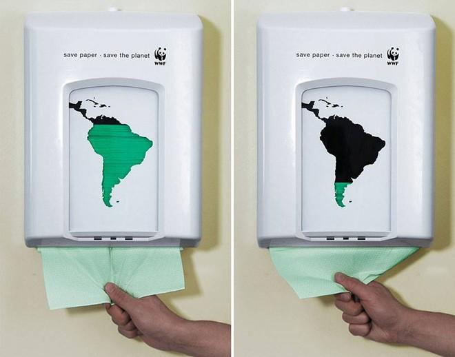 Quỹ Bảo vệ Thiên nhiên Quốc tế (WWF) phát đi thông điệp tiết kiệm giấy để bảo vệ hành tinh xanh.