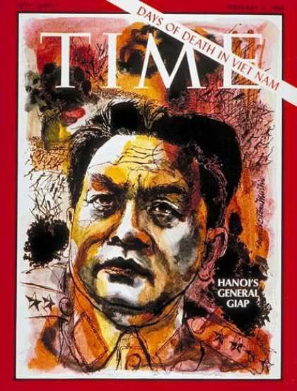 Chân dung Đại tướng Võ Nguyên Giáp trên trang bìa tạp chí Time ngày 9/2/1968.