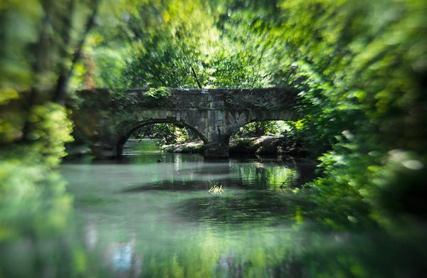Cây cầu bắc qua sông Black vào một ngày mùa hè tươi xanh.