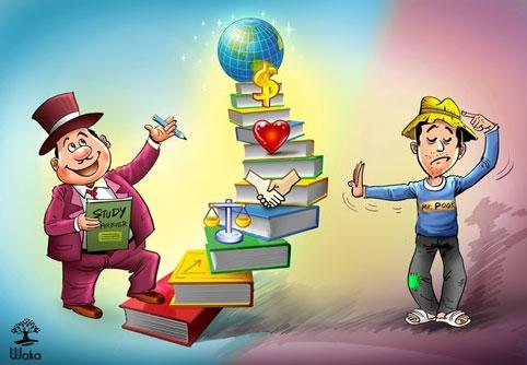 Người giàu học cả đời, người nghèo theo nửa đoạn.