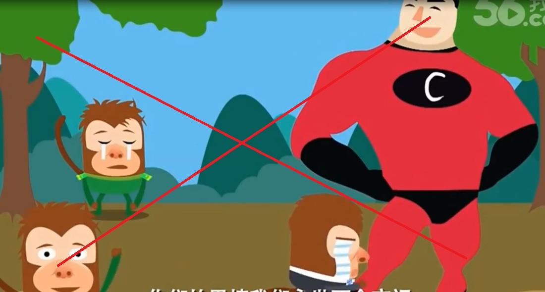 Hình ảnh xúc phạm Việt Nam trong phim hoạt hình TQ. Trong đó TQ tự coi mình là nước lớn, bề trên, còn nước nhỏ chỉ là những con khỉ mắt vàng