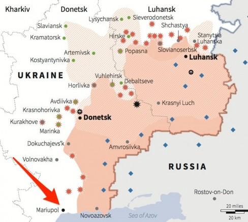 Bản đồ của phía đông Ukraine xác định vị trí các điểm nóng gần đây giữa quân ly khai thân Nga và lực Ucraine, bao gồm chuyển vùng điều khiển bằng kẻ nổi loạn và xác định vị trí hiện diện của đơn vị quân đội Nga trong khu vực này.