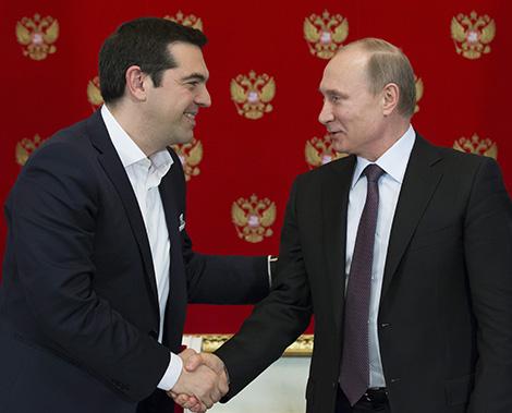 Thủ tướng Hy Lạp Alexis Tsipras và Tổng thống Nga Putin.