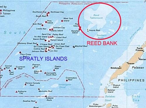 Vị trí Bãi Cỏ Rong (Reed Bank) ở Biển Đông.