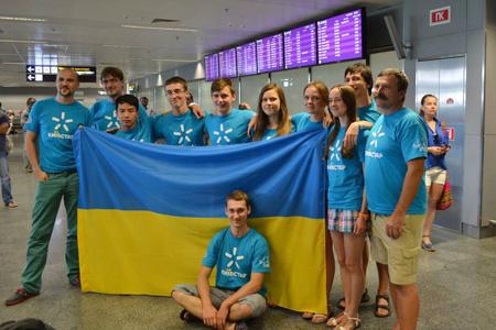 Đoàn Ukraina ở sân bay quốc tế Borispol (Kiev) sau chuyến bay từ Bangkok (Thái Lan) trở về