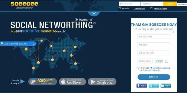Sqeeqee.com với giao diện đăng ký người dùng bằng tiếng Việt.