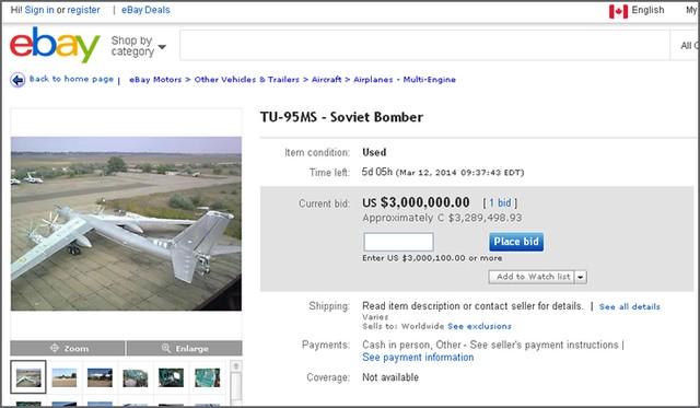 Hình ảnh máy bay ném bom chiến lược Tu-95MS được rao bán trên ebay