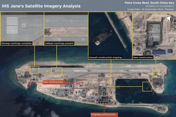 Hình ảnh vệ tinh công bố hôm 20/9 cho thấy Trung Quốc đã xây xong đường băng trái phép ở bãi Đá Chữ Thập, thuộc quần đảo Trường Sa của Việt Nam