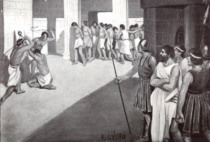Tầng lớp thấp nhất, ở đáy xã hội Sparta đó là nô lệ. Nô lệ chiếm số lượng dân cư lớn nhất trong xã hội dân tộc chiến binh. Những người này vốn là nô lệ hoặc bị dân tộc chiến binh Sparta bắt làm nô lệ khi chinh chiến.