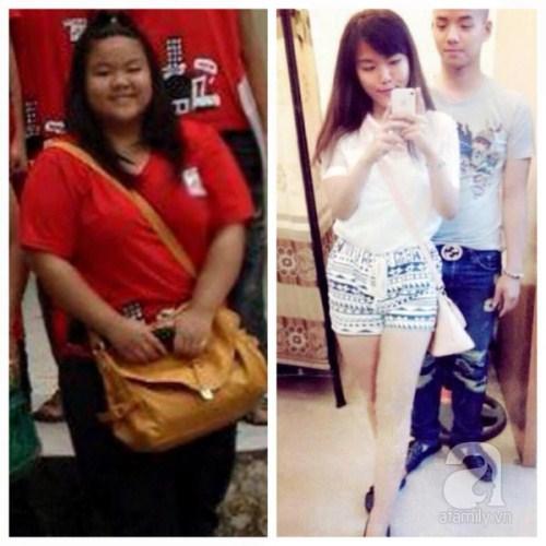 Minh Châu của những ngày còn 101 kg và hiện tại.