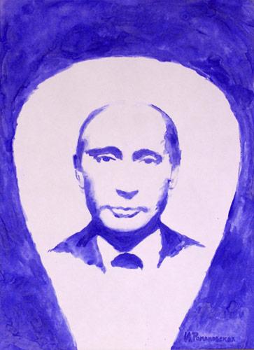 Chân dung tổng thống Nga Putin được vẽ bằng...bầu ngực. (Ảnh: Blog nhân vật)