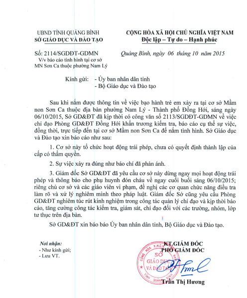 Công văn của Sở GD&ĐT tỉnh Quảng Bình