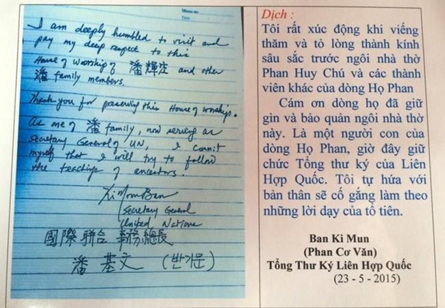 Lưu bút của ông Ban Ki-moon ở nhà thờ họ Phan Huy.