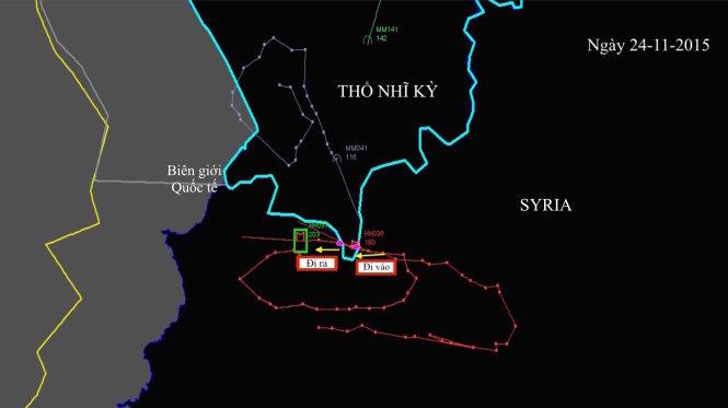 Ảnh đồ họa Thổ Nhĩ Kỳ và Nga công bố về đường đi và tọa độ của chiếc máy bay: Đường đi ra (trái) - vào (phải) và ra của máy bay Nga ở vùng gần với biên giới Syria của Thổ Nhĩ Kỳ - Ảnh: New York Times