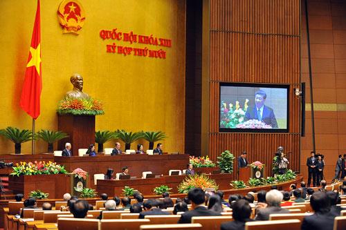 Ông Tập Cận Bình phát biểu trước Quốc hội Việt Nam. Ảnh: Giang Huy.