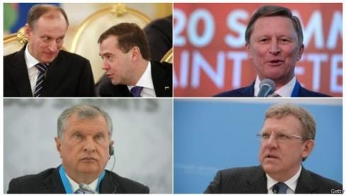 Theo chiều kim đồng hồ, từ ảnh trên cùng bên trái: Nikolai Patrushev và Dmitry Medvedev, Sergei Ivanov, Alexei Krudin, Igor Sechin