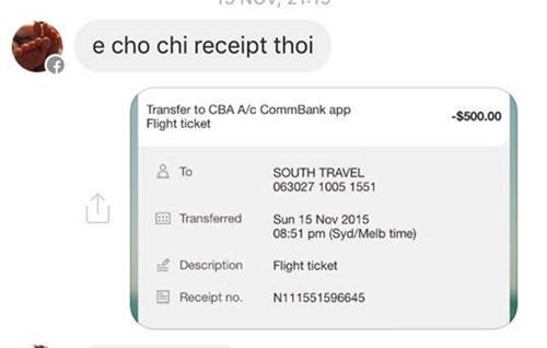 Vi Tran yêu cầu du học sinh cung cấp 'receipt' để biết chắc tiền vào tài khoản - Ảnh chụp màn hình