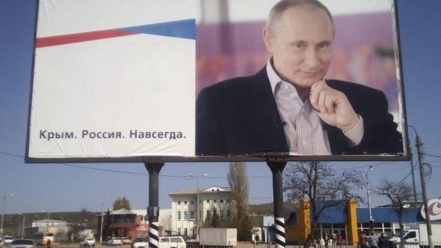 """Một biển quảng cáo ở Crimea viết: """"Crimea. Nước Nga. Mãi mãi.."""""""