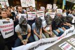Một cuộc biểu tình chống tham nhũng tại Kiev, đây là một trong những mối quan tâm chính của IMF (AFP Photo / Sergei Supinsky)