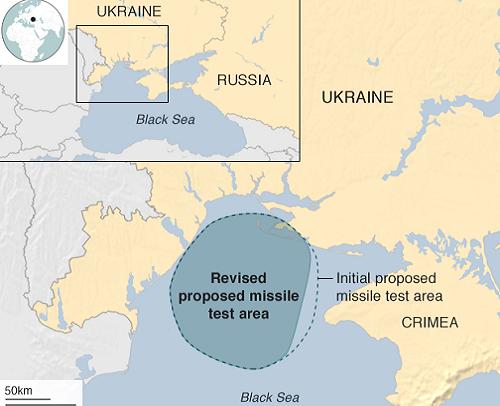 Phạm vi Ukraina khoanh vùng tập trận tên lửa gần Crimea. Đồ họa: BBC.
